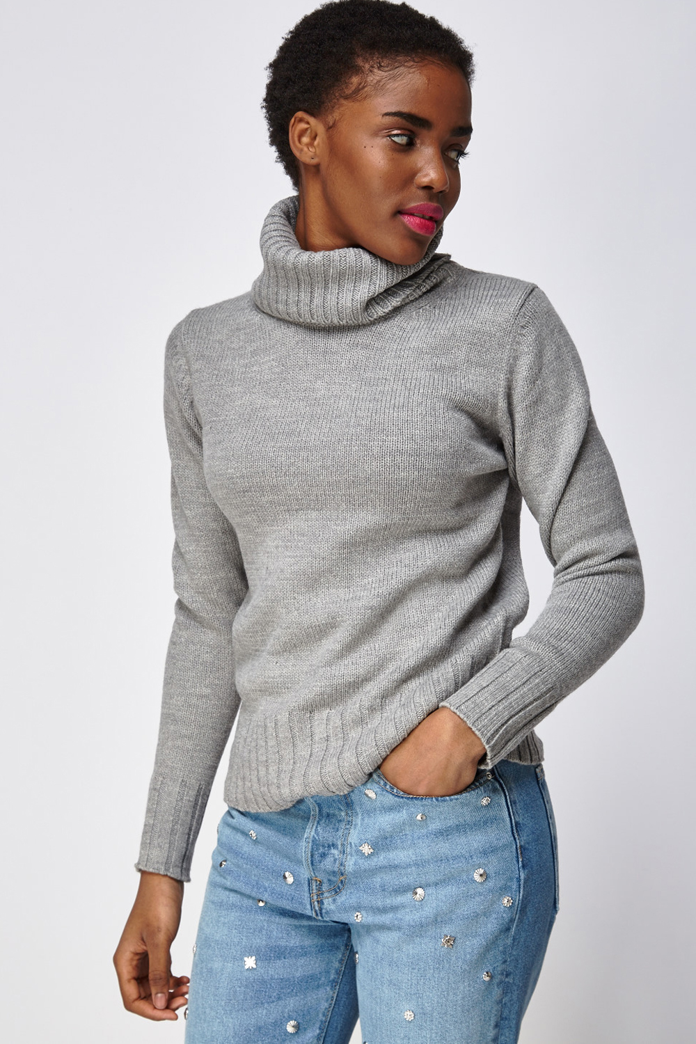b8e3cfff7c68f9 Ribbed Trim Turtle Neck Knitted Jumper - Just £5