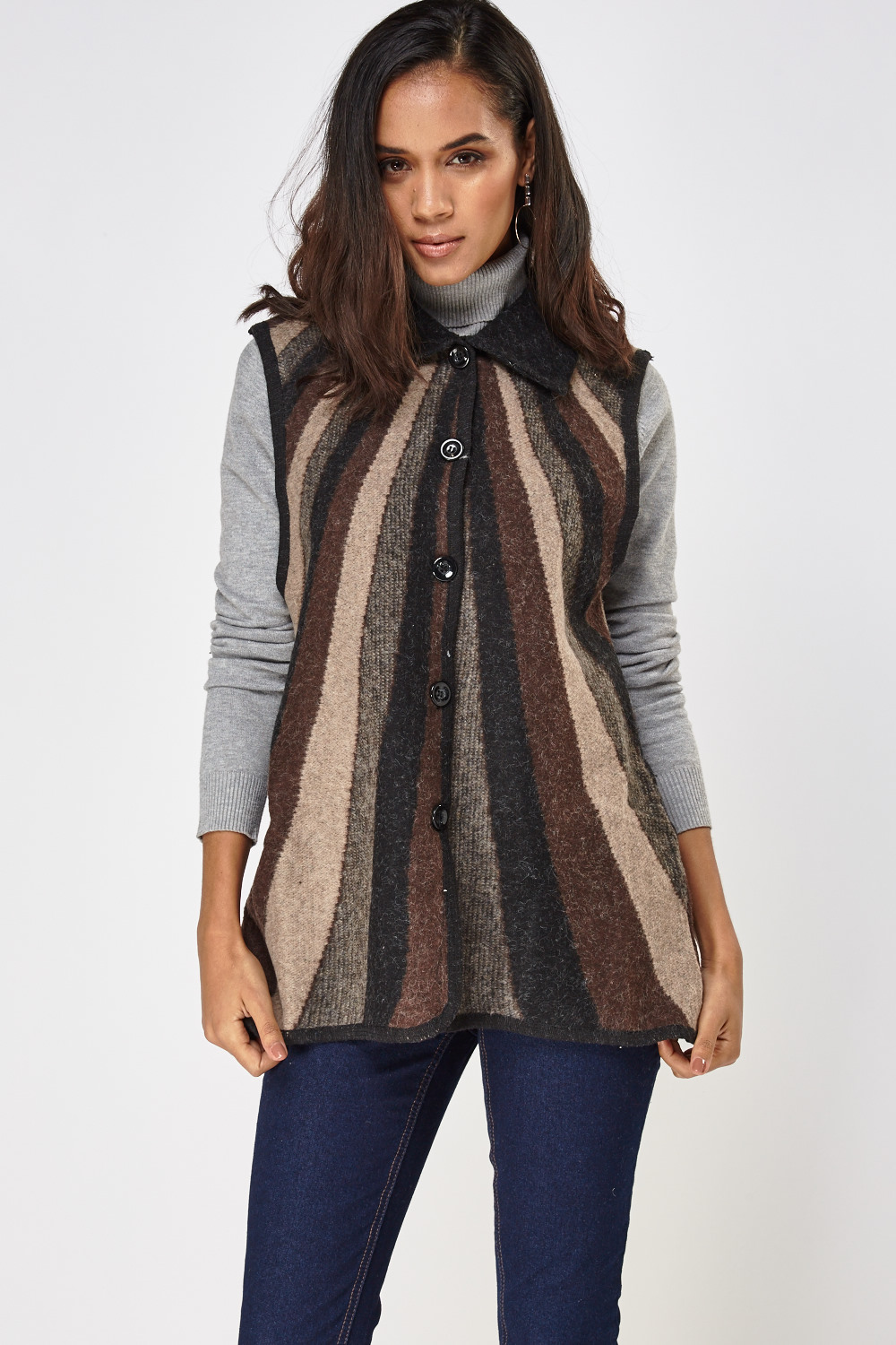 d26759874d28 Knitted Button Up Sleeveless Cardigan - Just £5