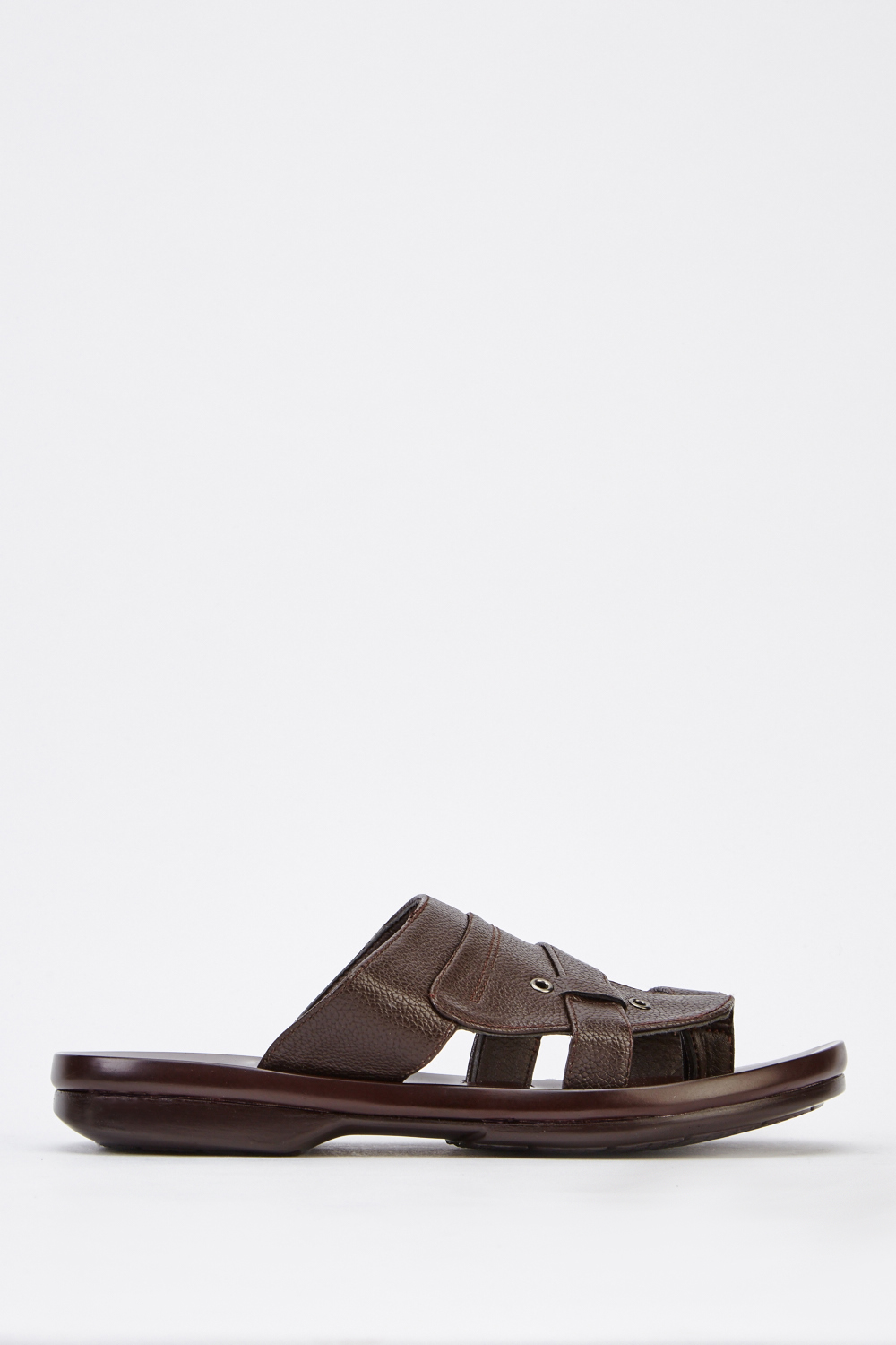 4a793db0f5aac2 Mens Flat Faux Leather Sandals - Brown - Just £5