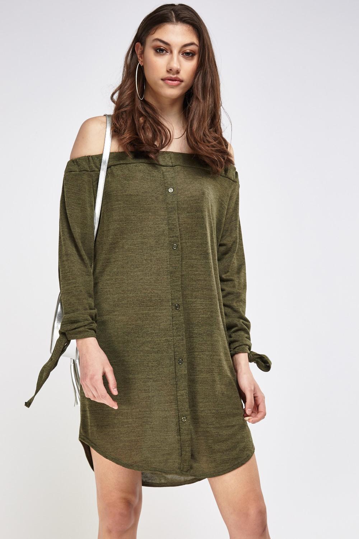 Tie Up Sleeve Off Shoulder Dress 3 Colours Just 163 5
