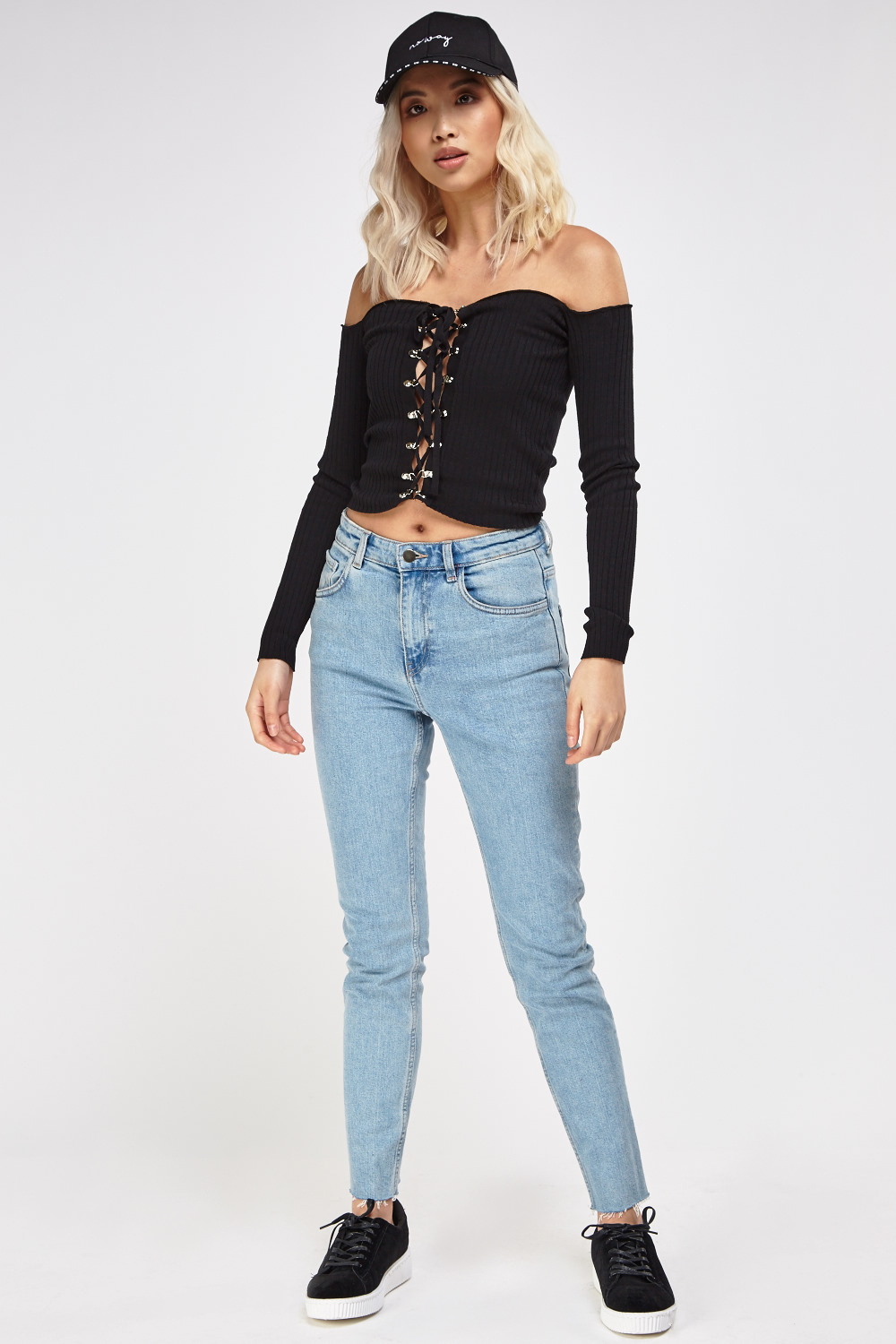 1c64ae8efec4 Lace Up Ribbed Off Shoulder Top - Just £5