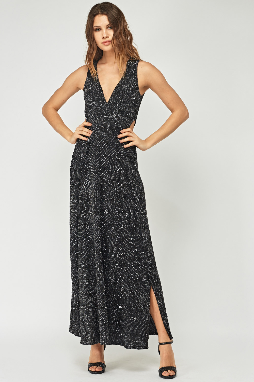 7792190e0e6 Metallic Insert Plunge Maxi Dress - Just £5