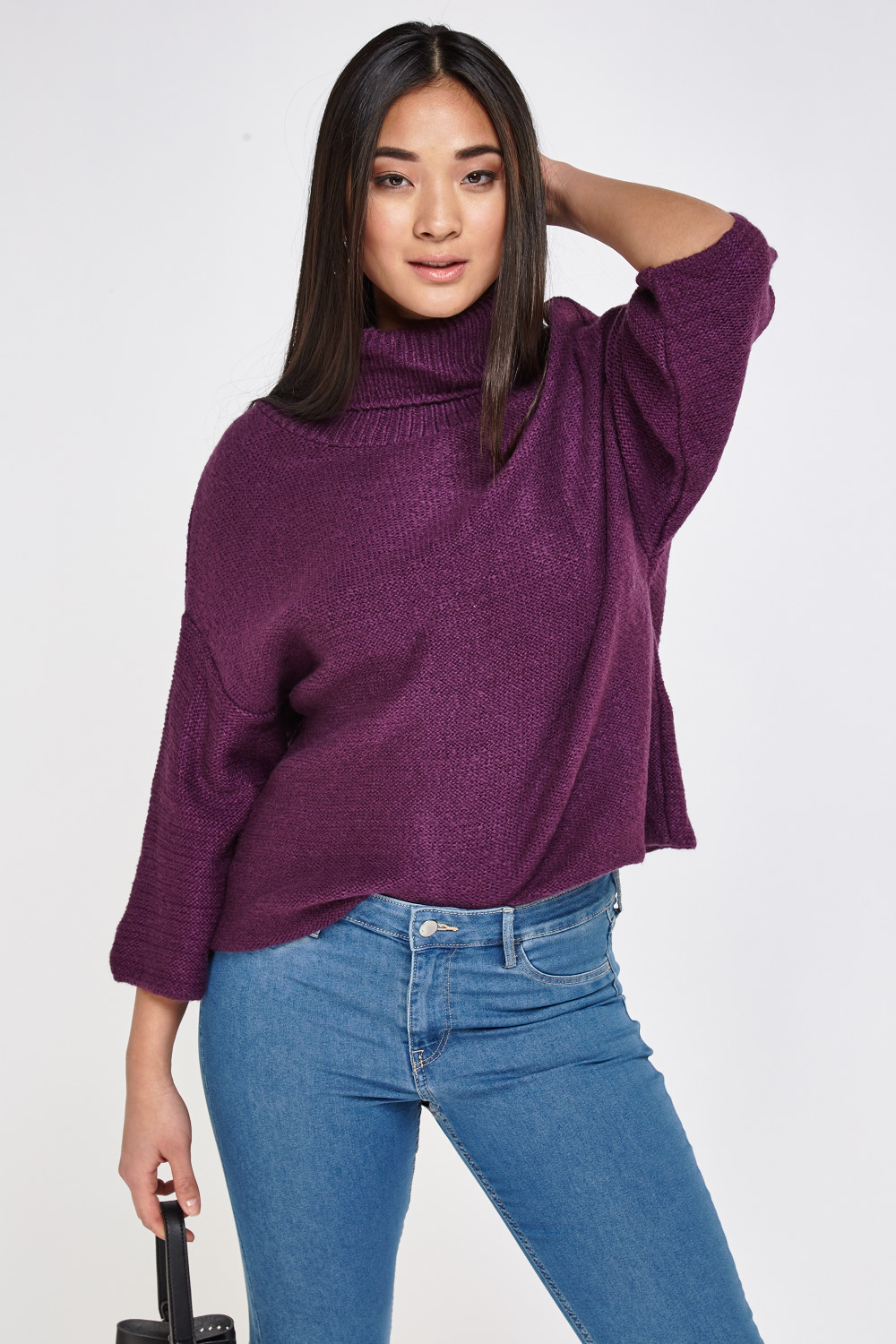 02a28469990 Roll Neck Purple Knitted Jumper - Just £5