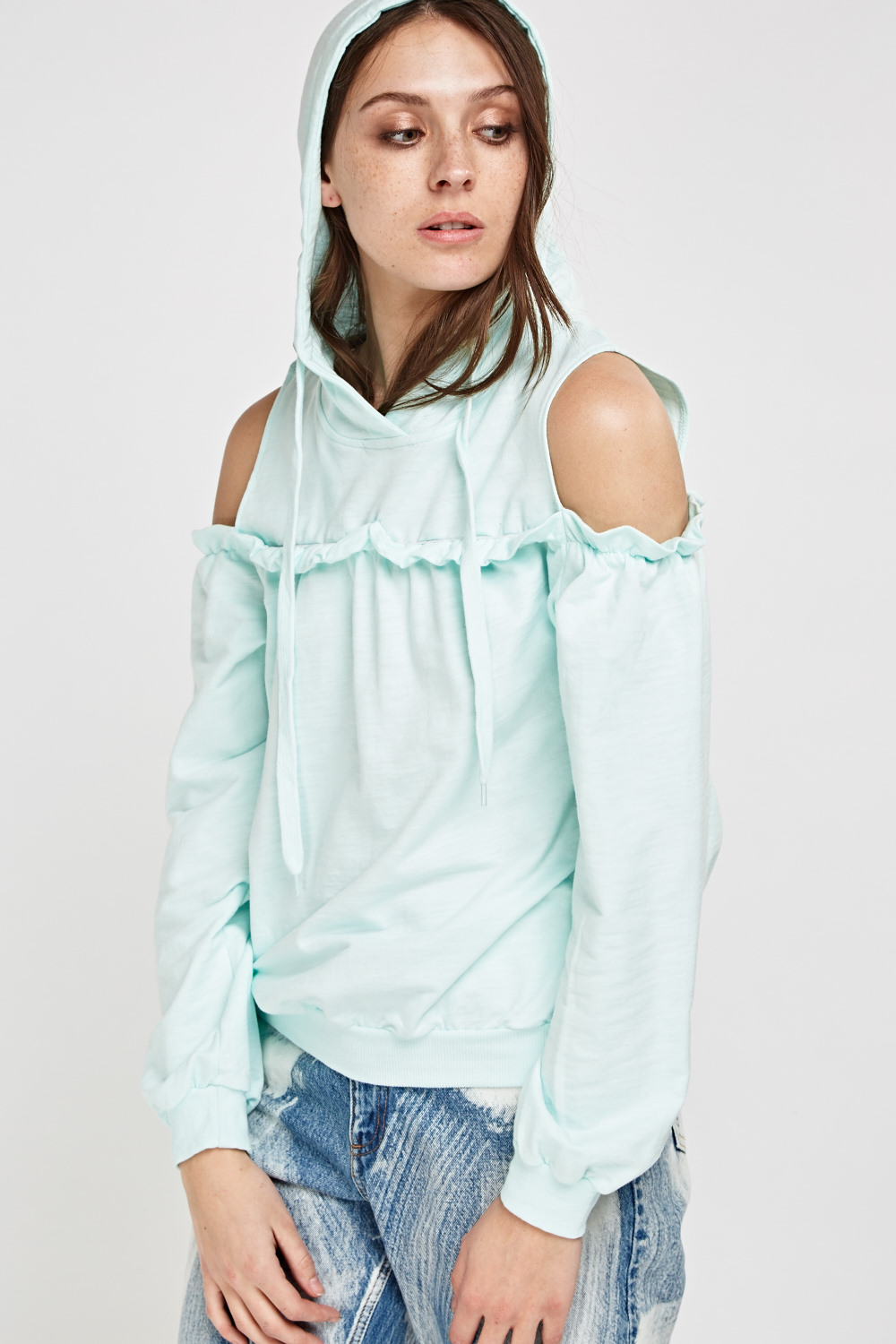 Cut Out Shoulder Frilled Hooded Jumper - White or Mint - Just £5 facfd244b