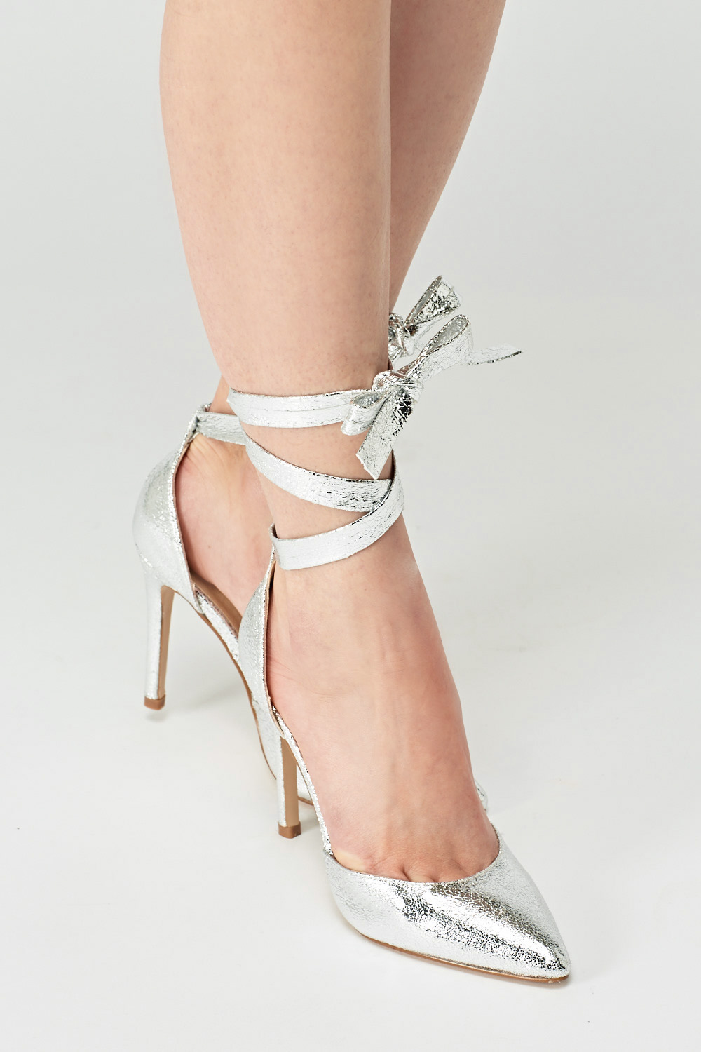 24b9f1b1eec Metallic Tie Up Court Heels - Just £5