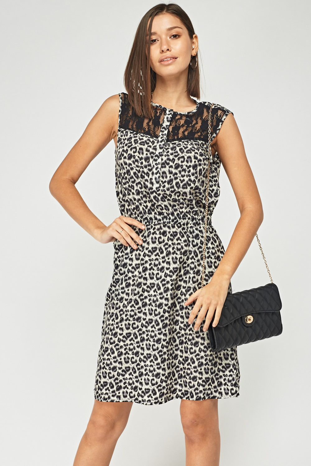 d890f5d1531d Lace Insert Leopard Print Dress - Just £5