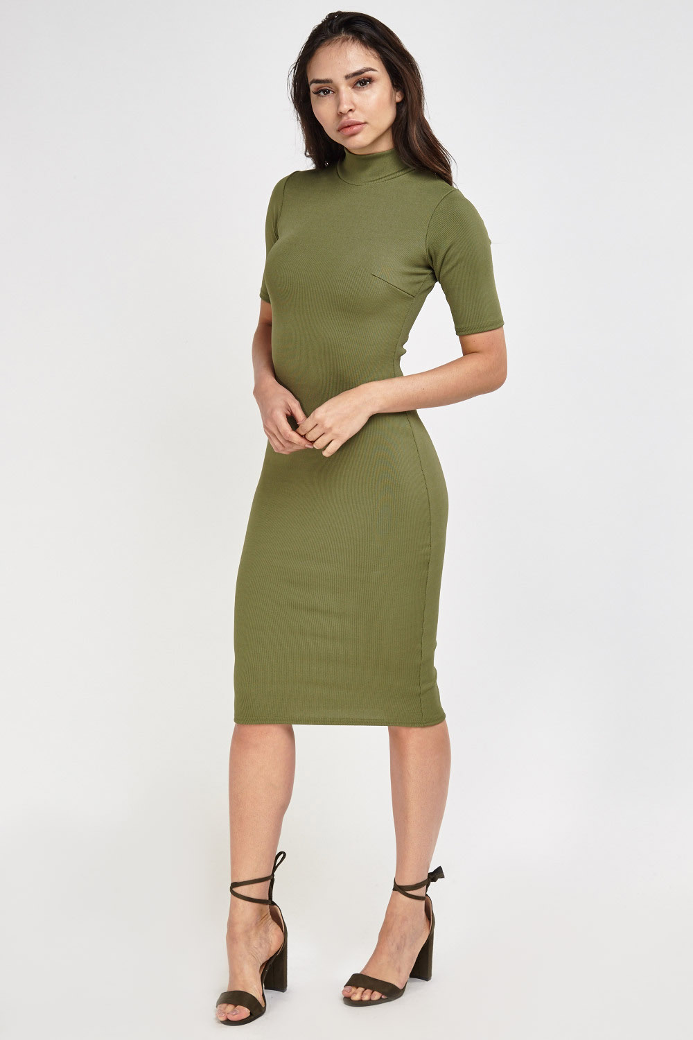 025277a1c7ff Ribbed Midi Olive Bodycon Dress - Just £5