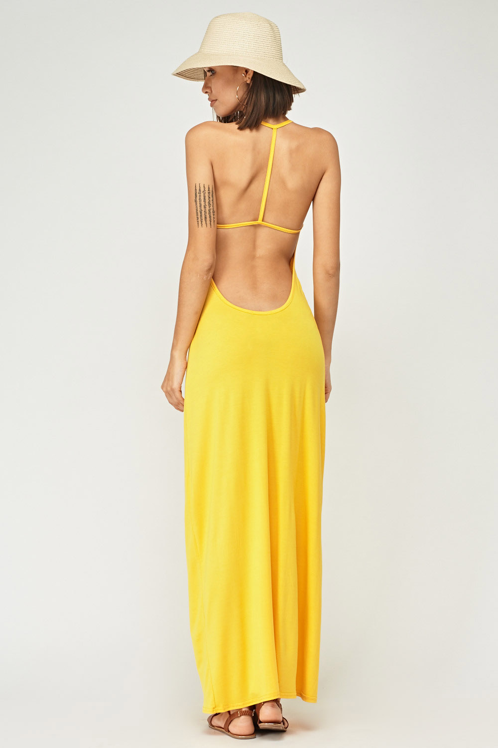 d80bedd6c4 Strappy Back Yellow Maxi Dress - Just £5
