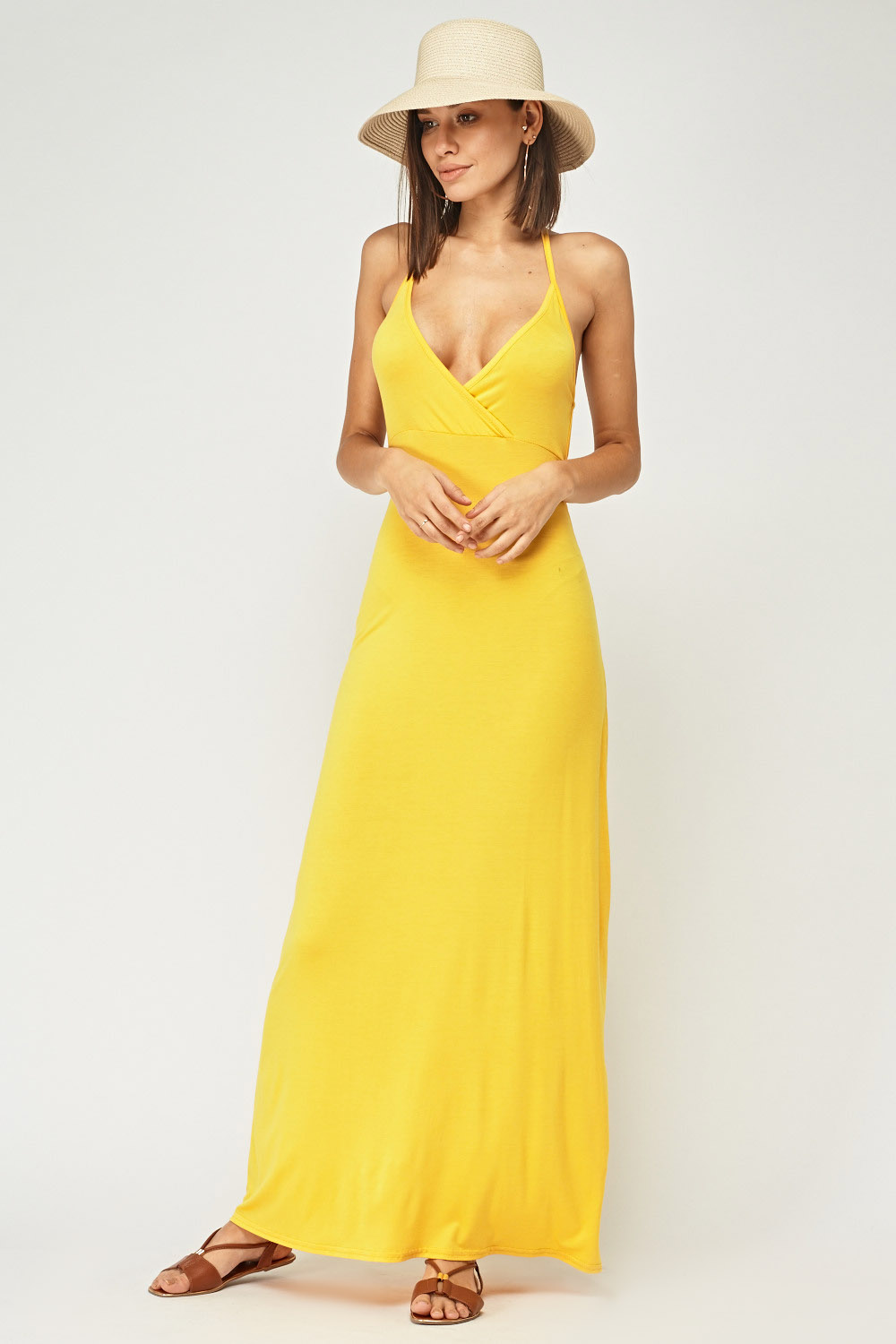3ad502f3757 Strappy Back Yellow Maxi Dress - Just £5