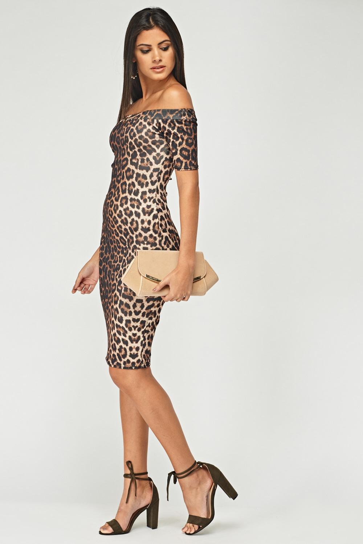 f6f4aa79d5 Off Shoulder Leopard Print Bodycon Dress - Just £5