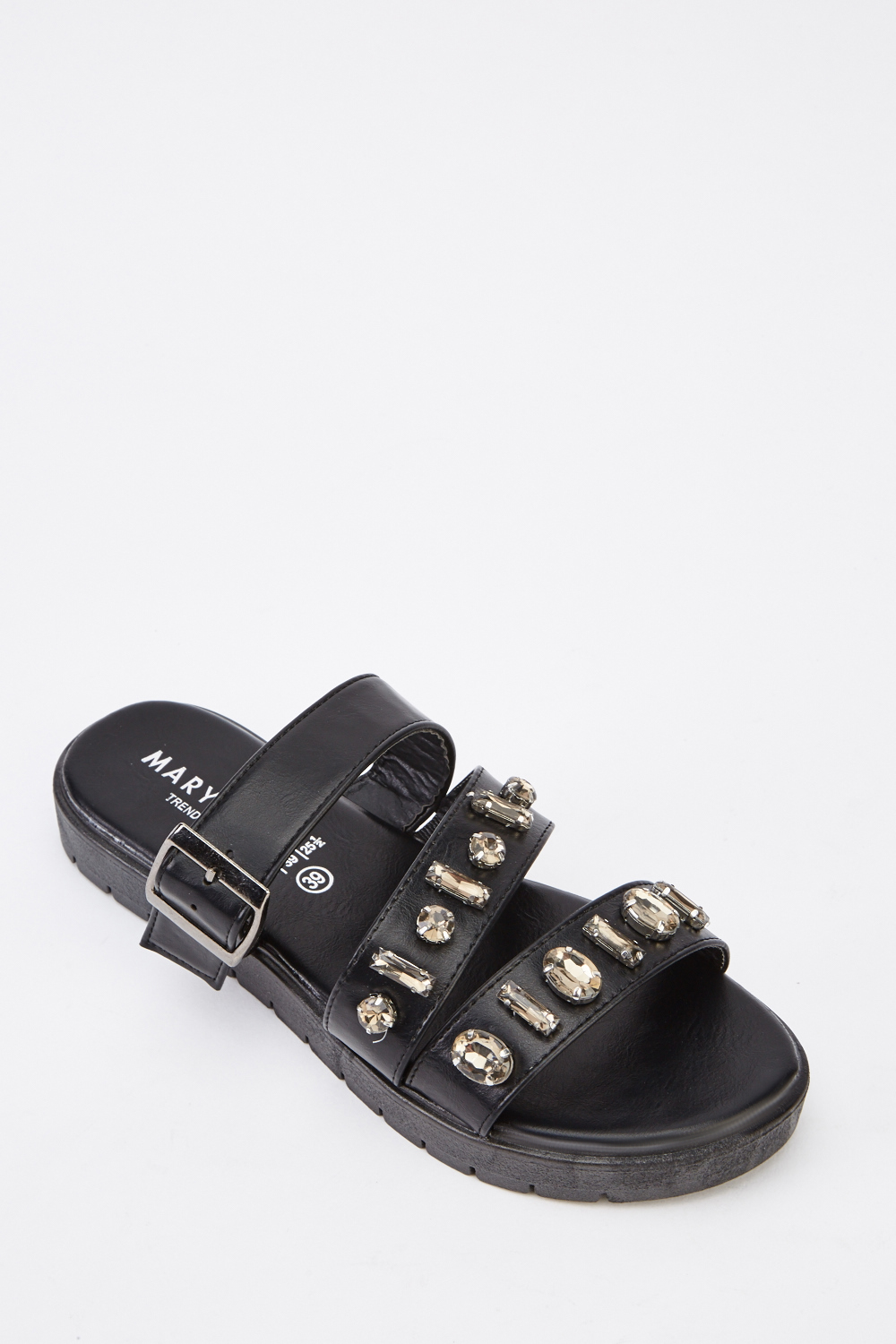 5a73df3abab Black Embellished Strappy Sandals - Just £5
