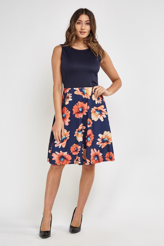 Floral Print Contrast Midi Skater Dress - Just £5 97291c8e2