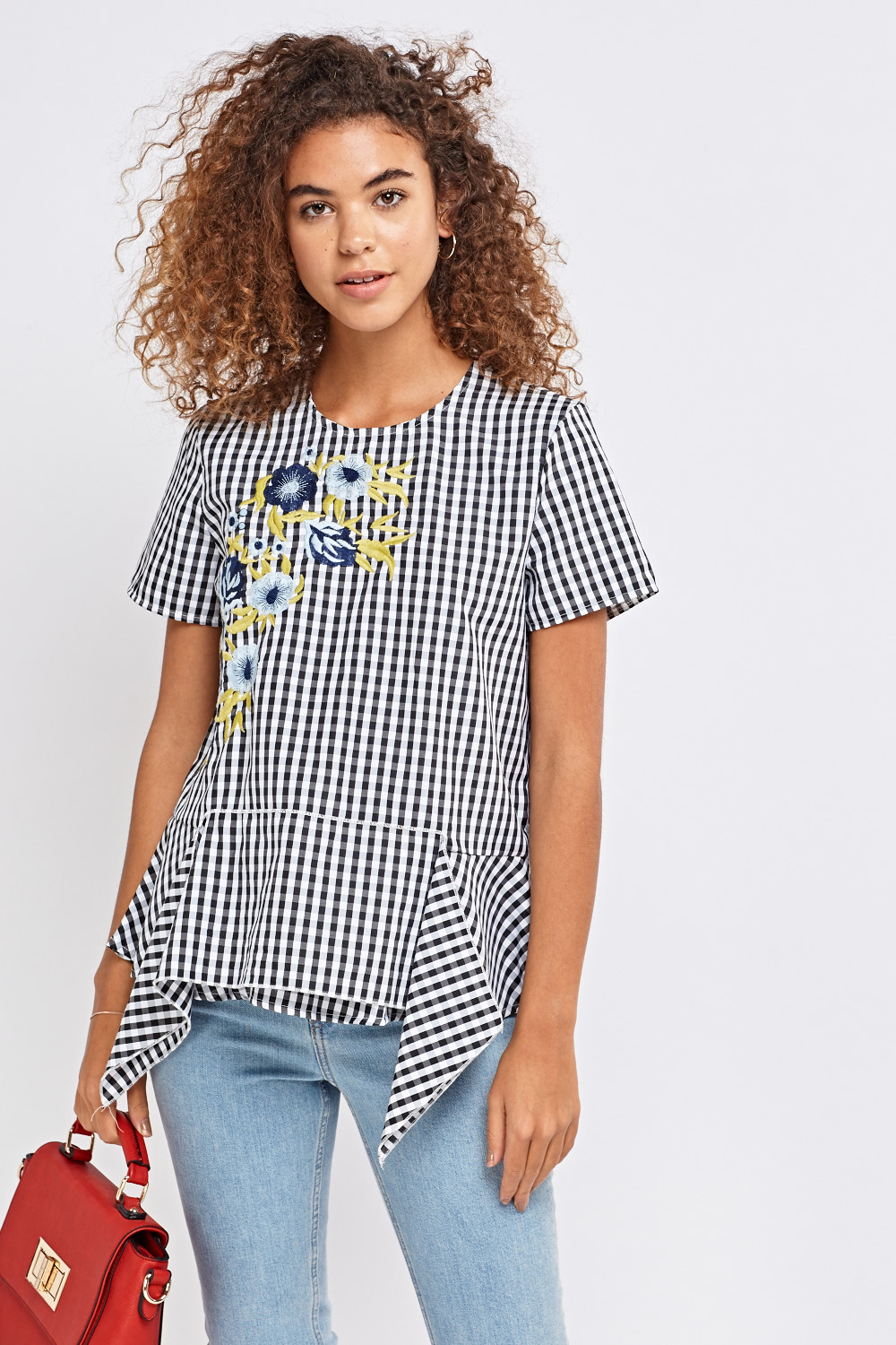 Gingham Peplum Top With Flower Embroidered Front Blackmulti Just 5