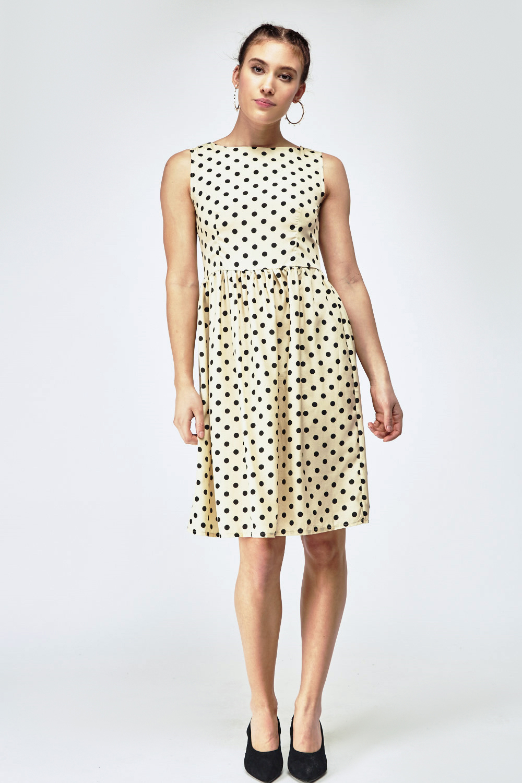 8ce5e68336e9cb Sleeveless Polka Dot Babydoll Dress. £5.00. ColourLight Beige Black