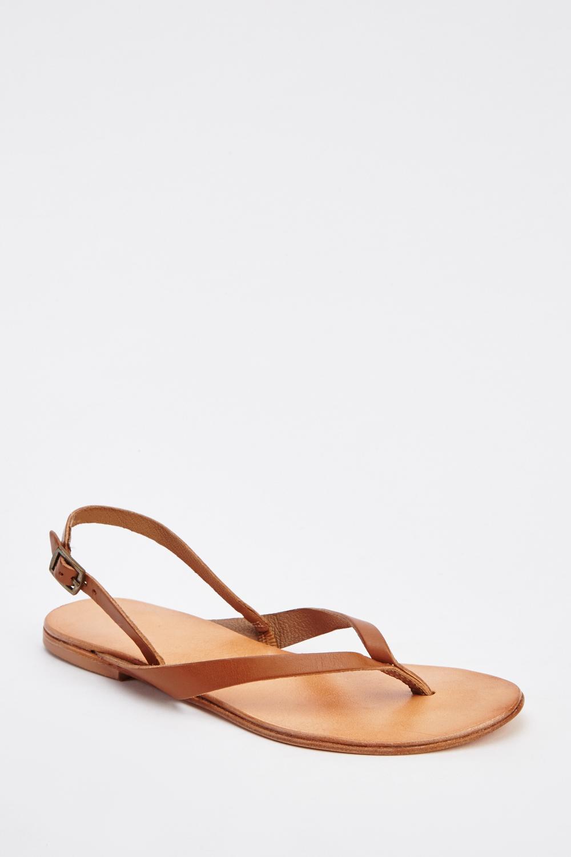 c2d9783de Faux Leather Flat Flip Flop Sandals - Just £5