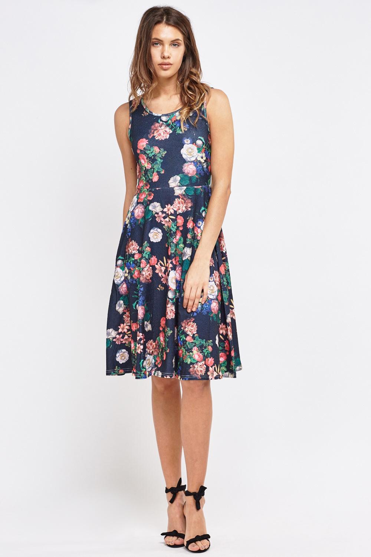 Printed Midi Skater Dress - Just £5 1290a9bfb