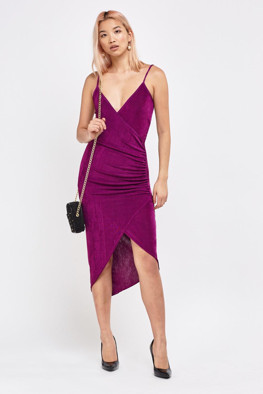 934f200ad2a Ruched Asymmetric Wrap Dress - Purple - Just £5