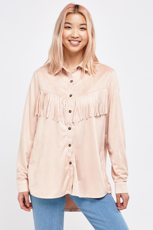 Suedette Cowboy Fringe Shirt - 3 Colours - Just 5-4442