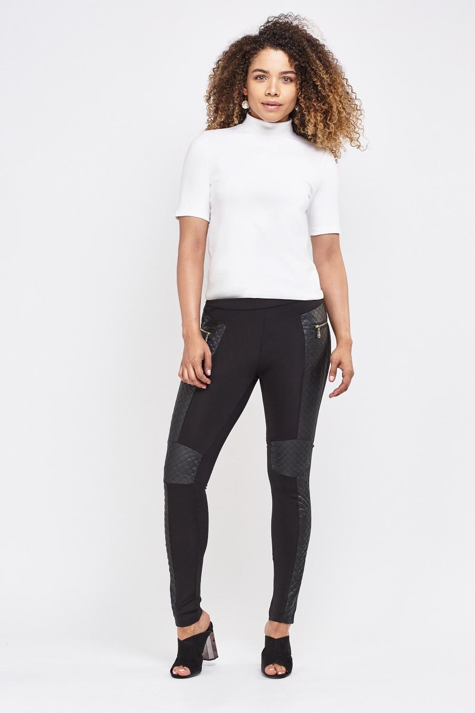 Women Leggings Faux Leather Inserts Size 8-12