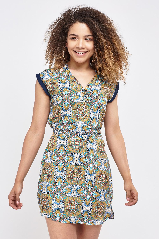 Bandeau Tribal Print Maxi Dress - Just $7