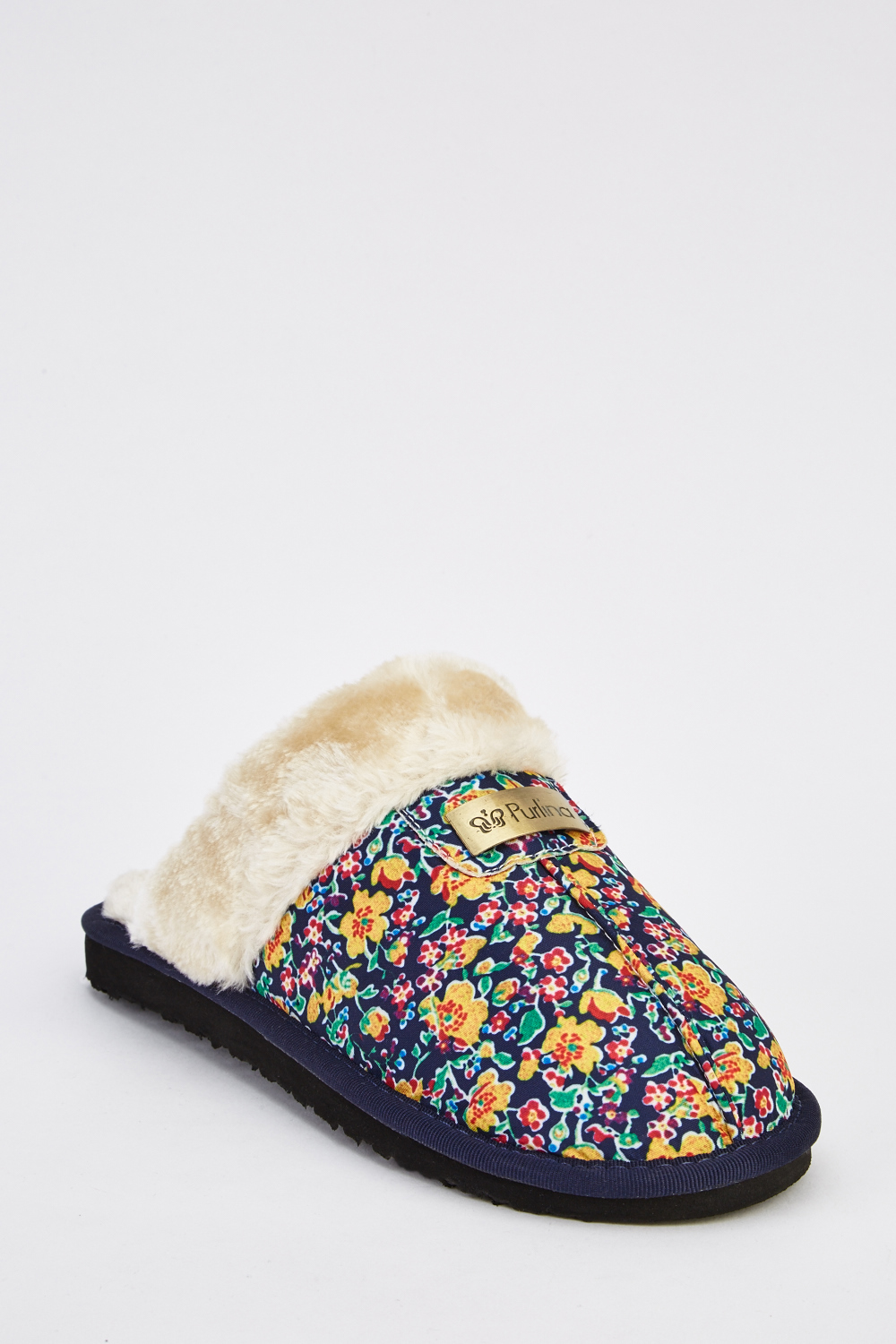 35a10cf1d Floral Print Faux Fur Insert Slippers - Just £5