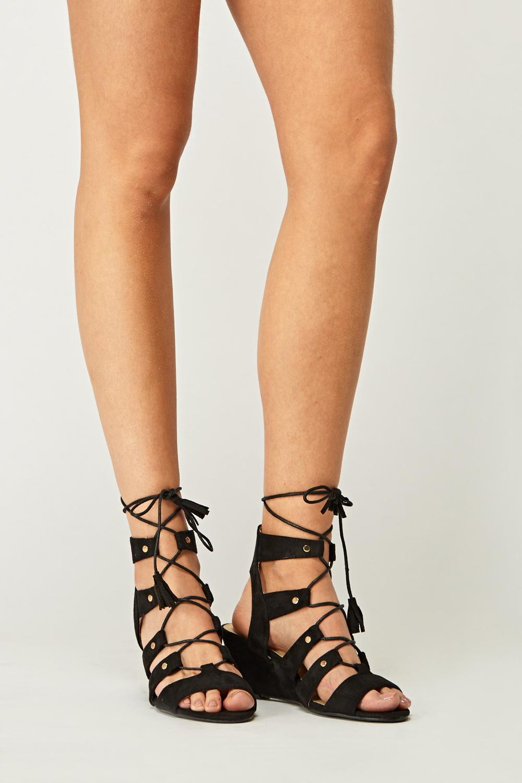 e85d37e30c7 Tie Up Wedge Sandals - Just £5