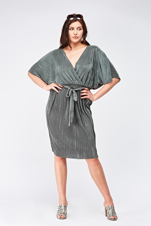 684b995232 Wrap Front Pleated Midi Dress - Just £5