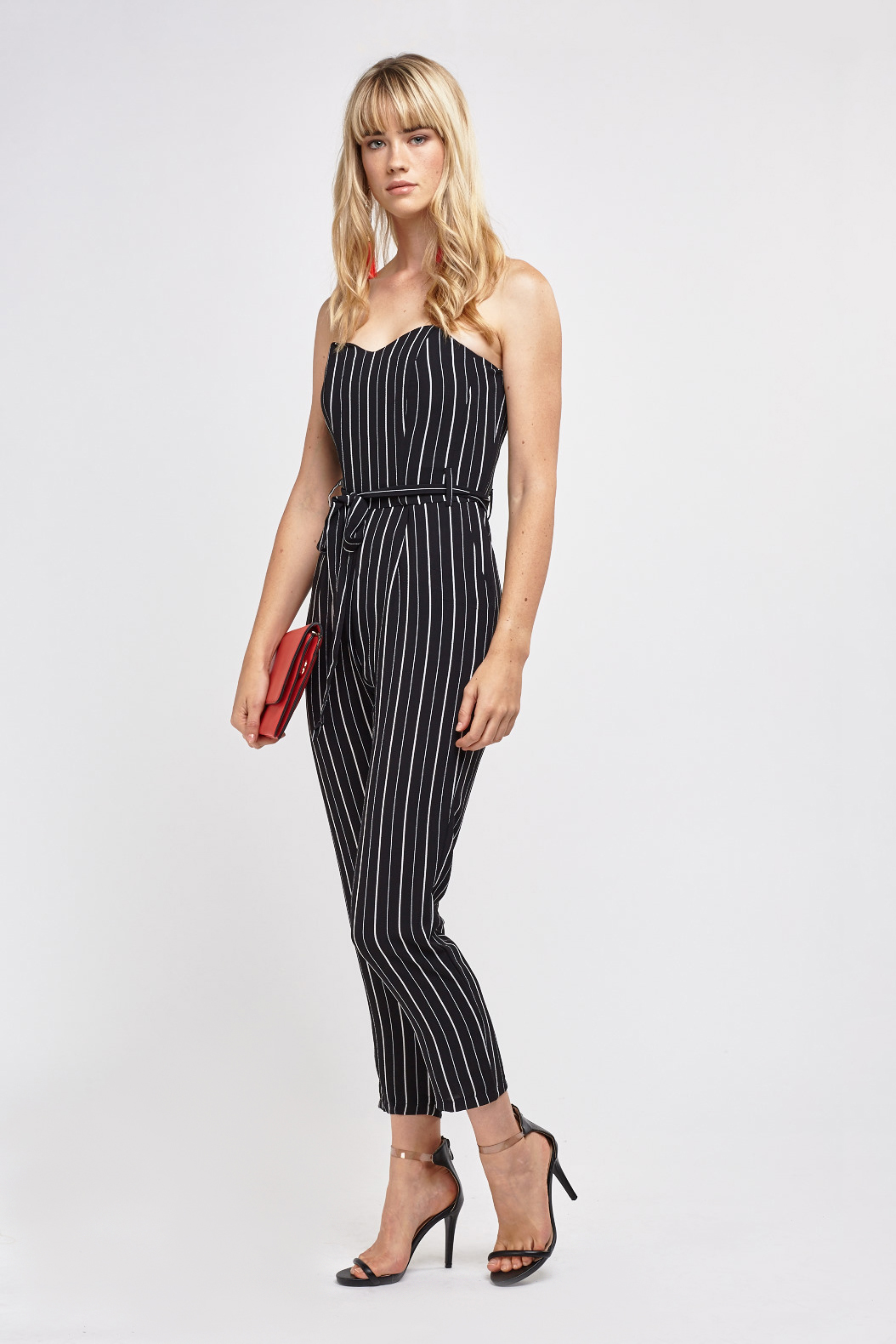 c5f176ce3b8 Double tap to zoom. Pin Striped Strapless Sweetheart Jumpsuit