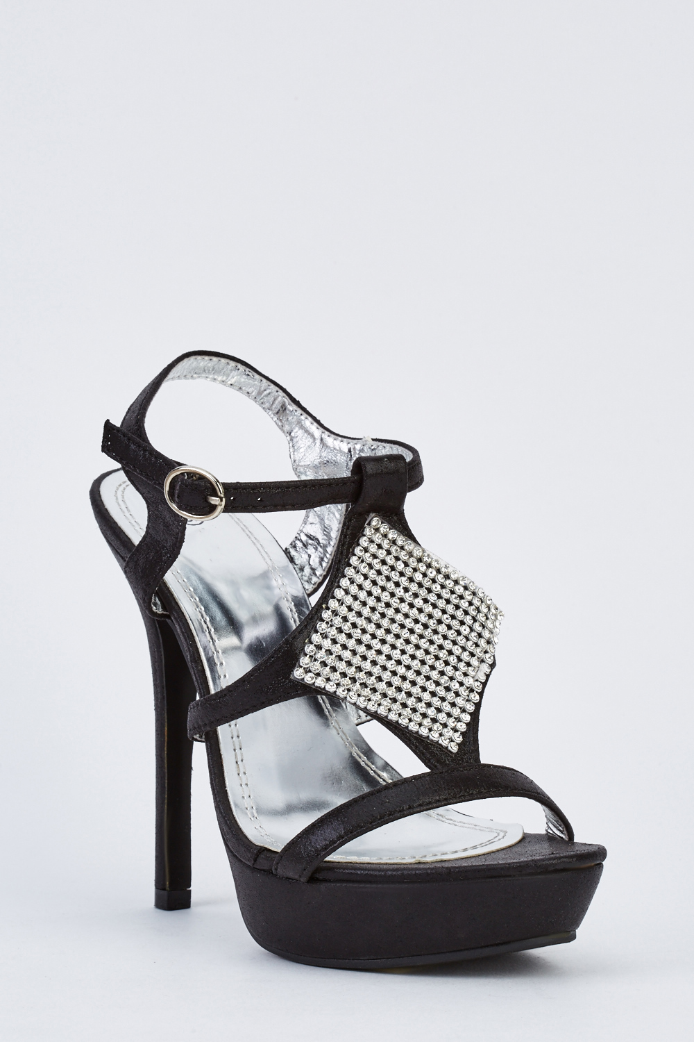 0d59225893b Encrusted High Heel Platform Sandals - Black - Just £5