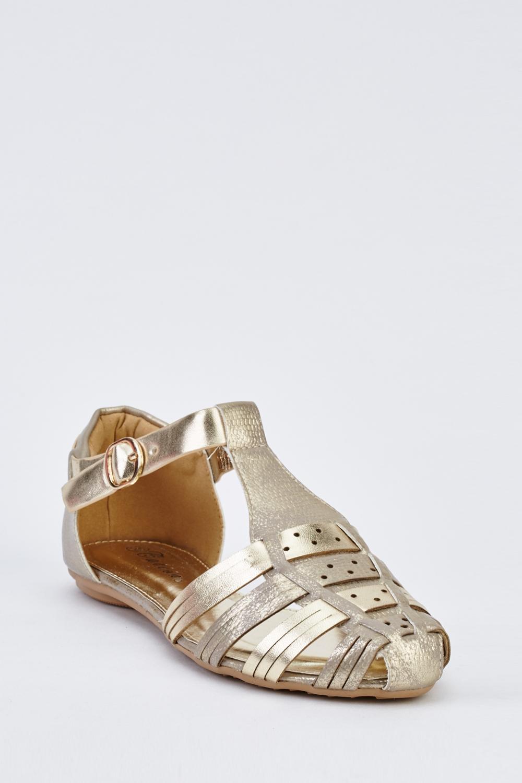 61fe045a1e30 Metallic Closed Toe Gladiator Sandals - Just £5