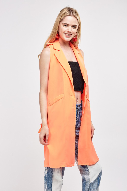 4e814d313fe549 Sleeveless Long Line Duster Coat - Sunflower or Neon Coral - Just £5