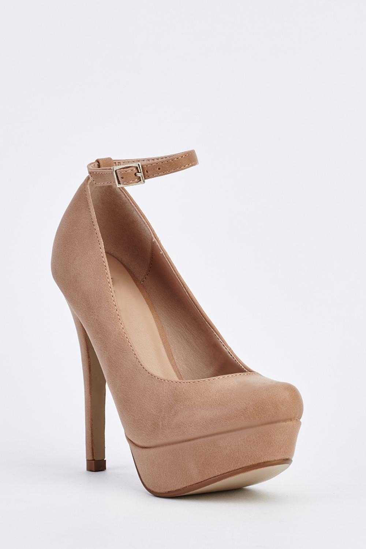 d88987068997 Ankle Strap Platform Court Heels - Beige - Just £5
