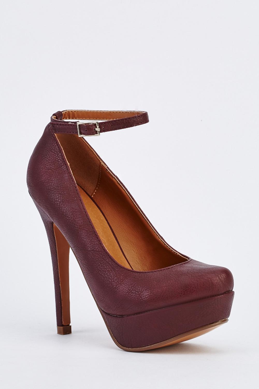 3be1eb3fe65 Ankle Strap Platform Heels - Purple - Just £5