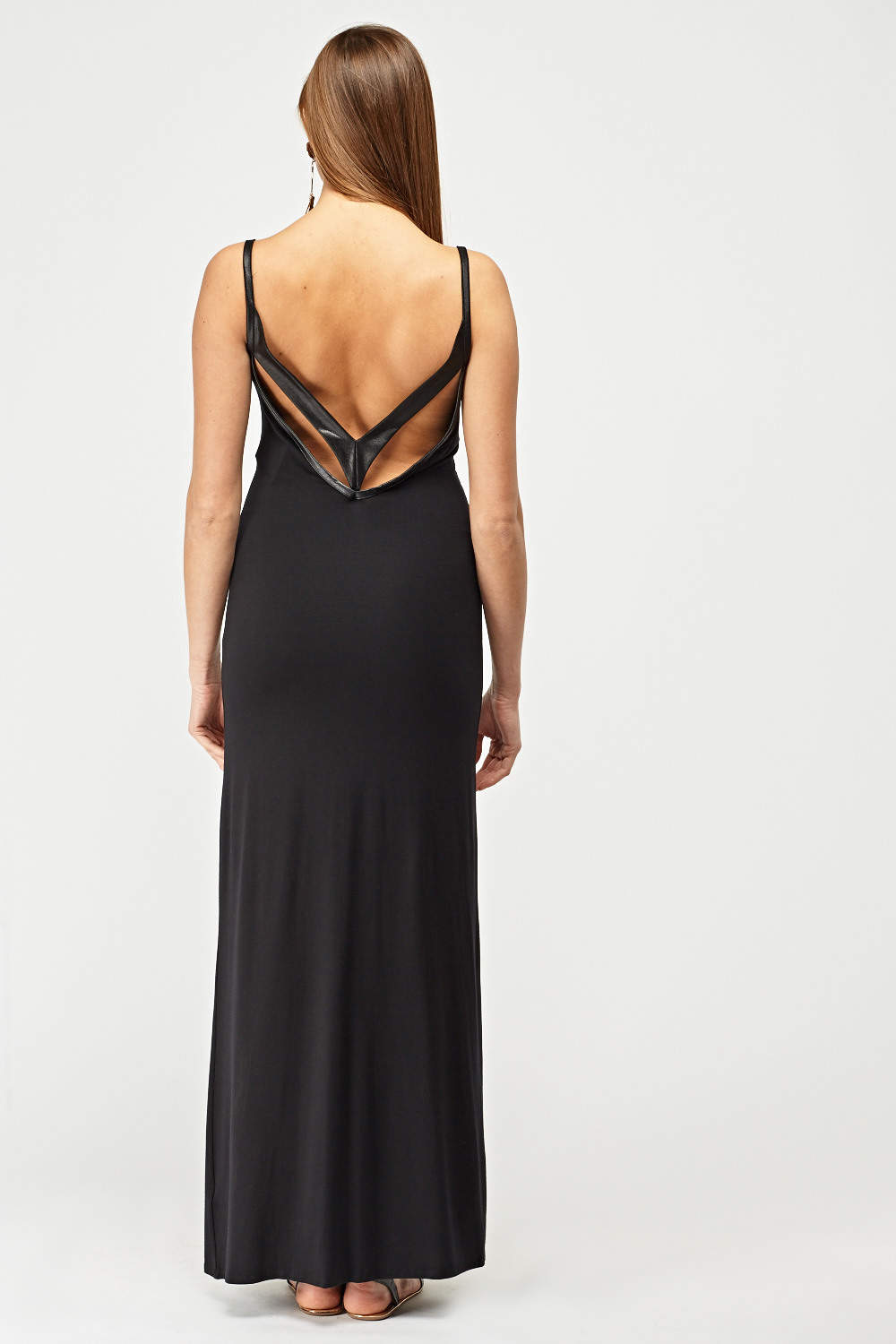 664ceafa866 Faux Leather Trim Maxi Dress - Black - Just £5
