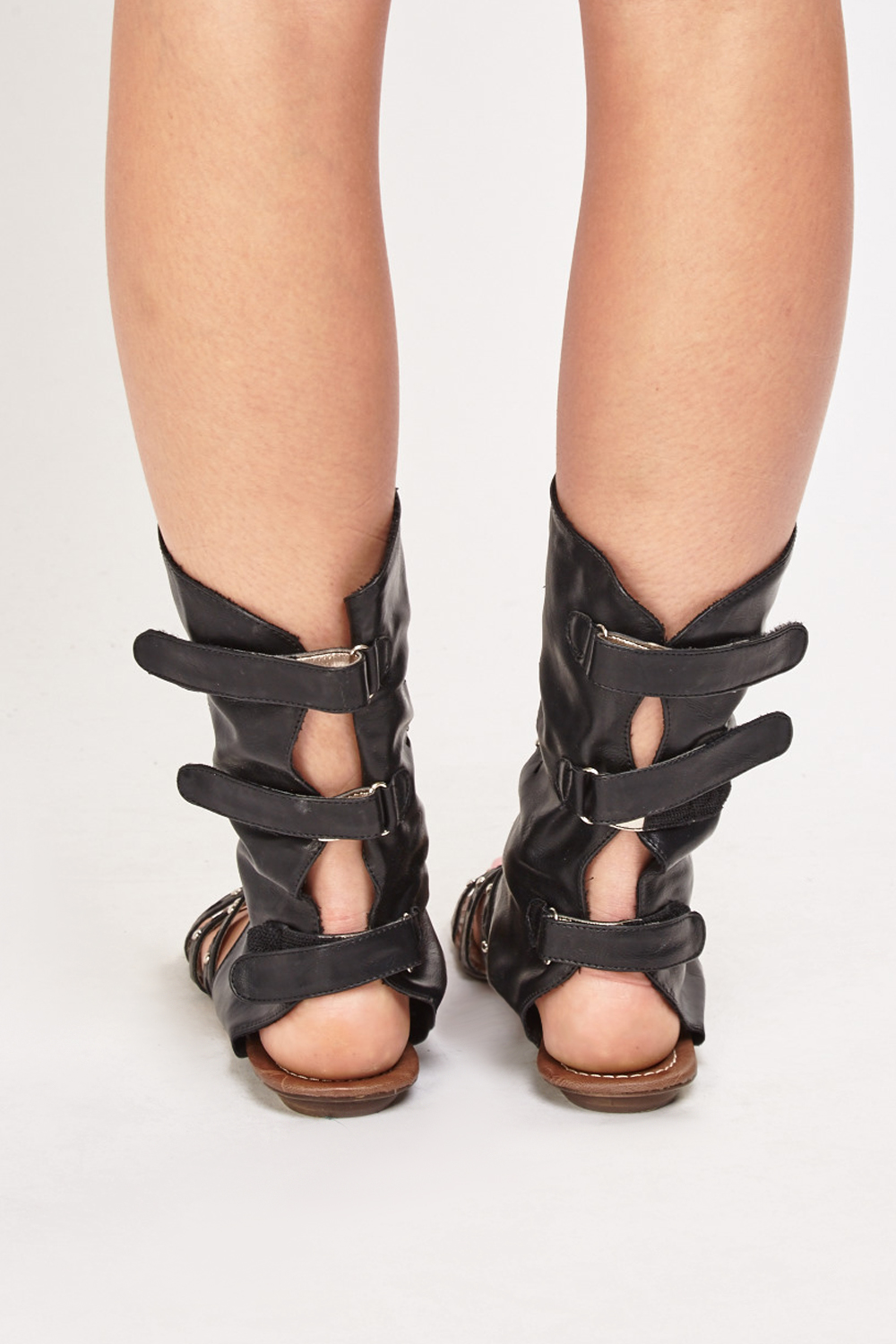 e1a9d3362e23 Faux Leather Detailed Flat Gladiator Sandals - Just £5