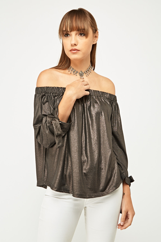959b2e28eeb0b Metallic Off-The-Shoulder Top - Black Bronze or Black Silver - Just £5