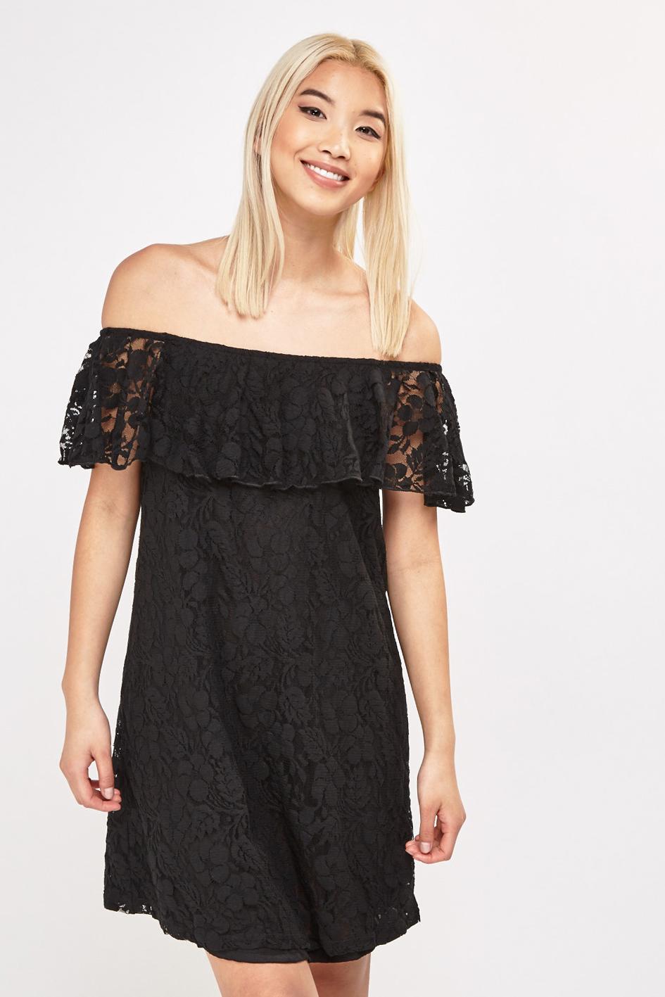 51ead7d164721 Lace Off Shoulder Bardot Dress - Black - Just £5