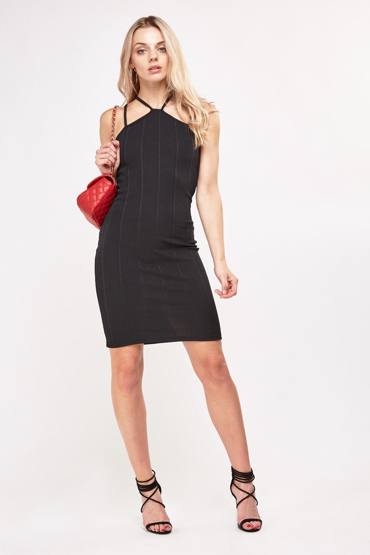 460b6e94bd Bandage Strappy Bodycon Dress - Black - Just £5