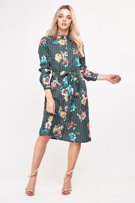 a7ed632b04f0 Floral Stripe Print Shirt Dress - Just £5