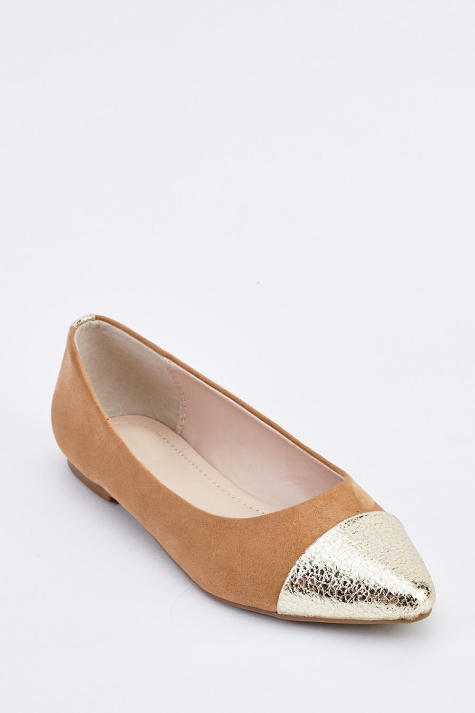 1f65a4b34c01 Metallic Contrast Suedette Ballet Pumps - Beige - Just £5