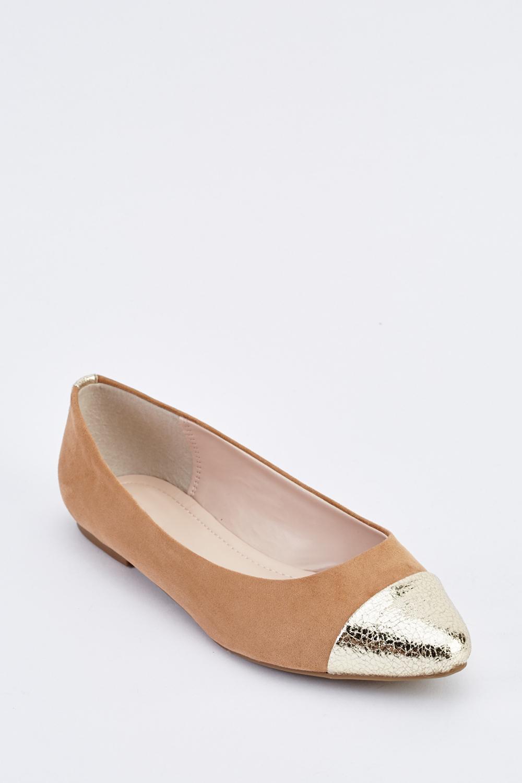 8048ab8c7ed Suede Metallic Contrast Ballet Pumps - Beige - Just £5