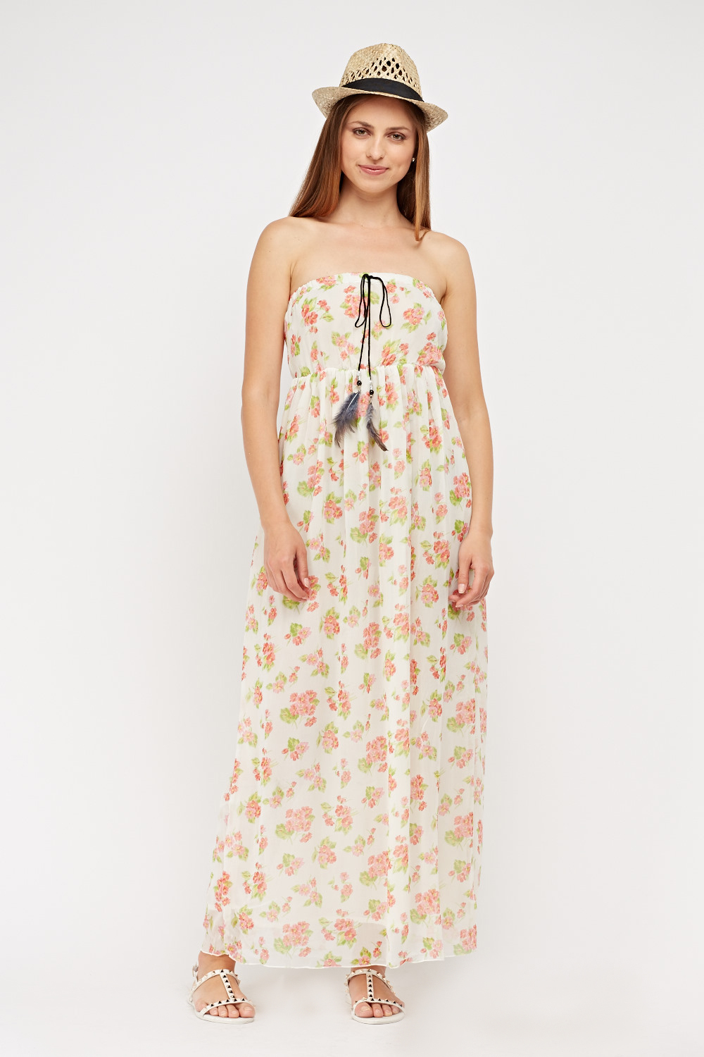 Strapless Floral Print Maxi Dress White Multi Just 5
