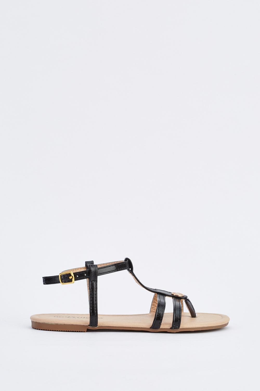 T Strap Detail Flat Sandals 3 Colours Just 163 5