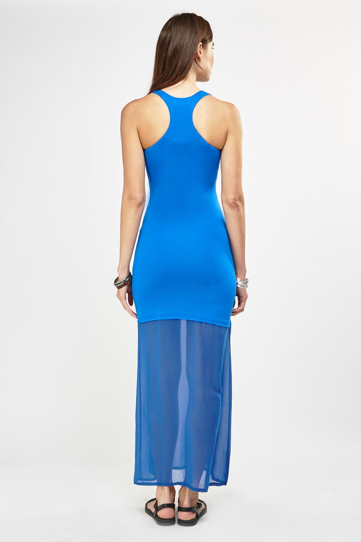 Sheer Chiffon Contrast Maxi Dress 3 Colours Just 163 5