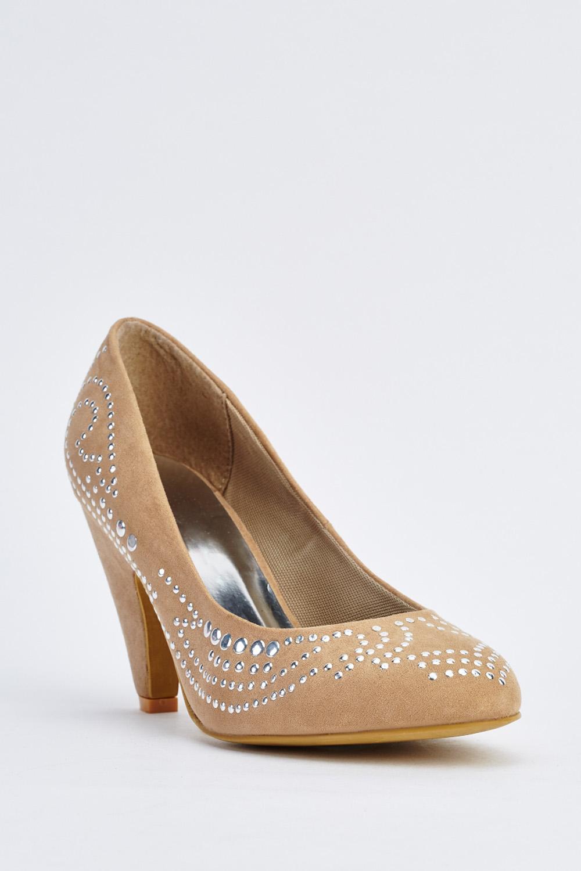 5e18e780324 Encrusted Suedette Pump Heels - Just £5