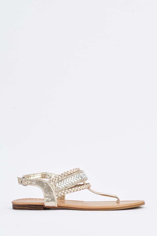 aa254dfaf5e Encrusted T-Strap Flat Sandals - Just £5