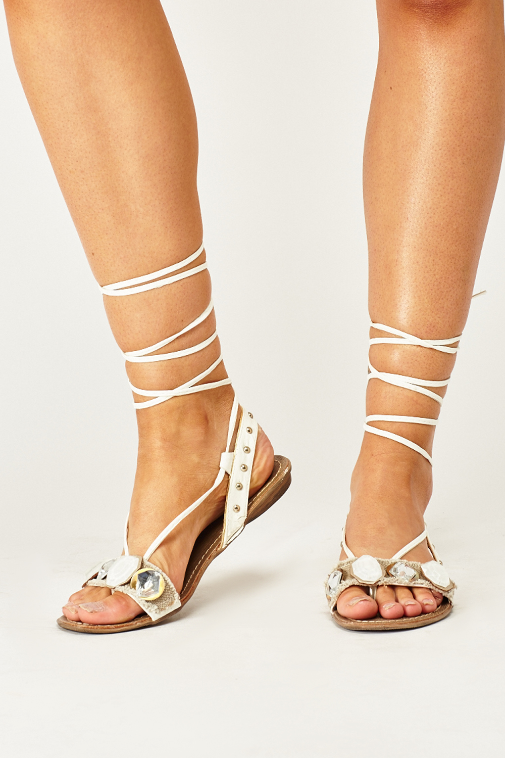 Embellished Lace Up Flat Sandals - White - Just £5