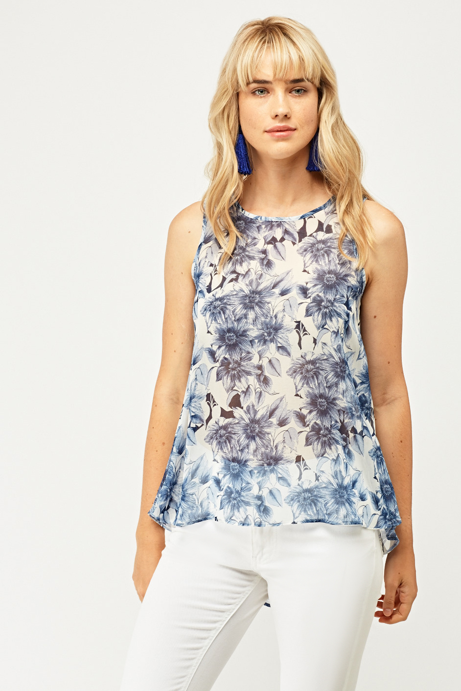 Floral Print Sheer Shell Top Just 163 5