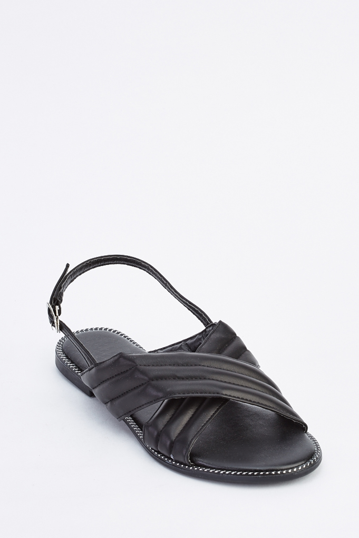 3e907cc714eb Cross Strap Slingback Flat Sandals - Black - Just £5