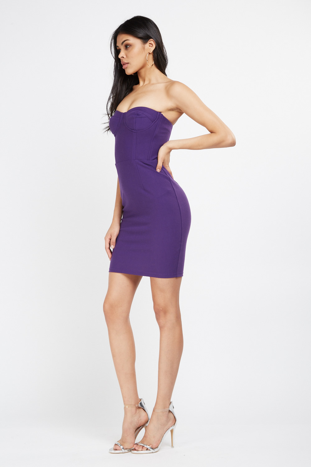 18205cc31009 Strapless Sweetheart Bodycon Dress - Purple - Just £5